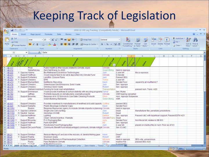 Keeping Track of Legislation