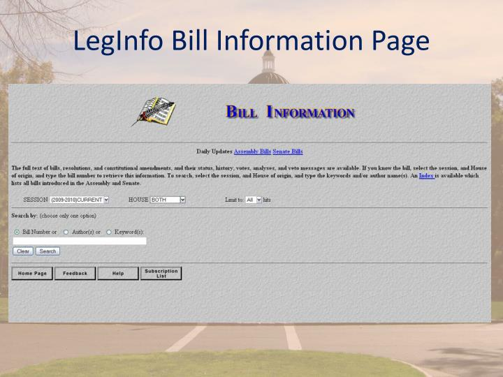 LegInfo Bill Information Page