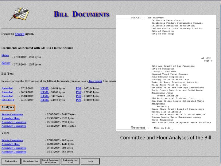 Committee and Floor Analyses of the Bill