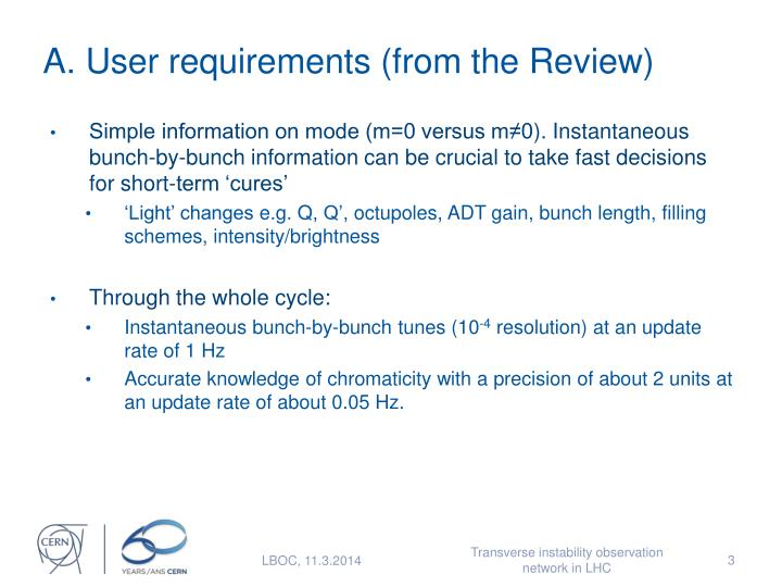 A user requirements from the review