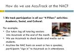 how do we use accutrack at the nac