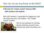how do we use accutrack at the nac1