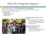 who our programs support