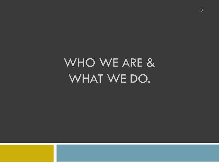 WHO WE ARE &