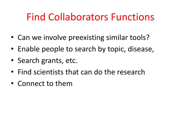Find Collaborators Functions