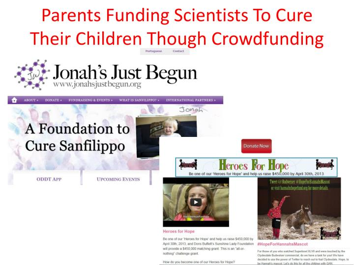 Parents Funding Scientists To Cure Their Children Though