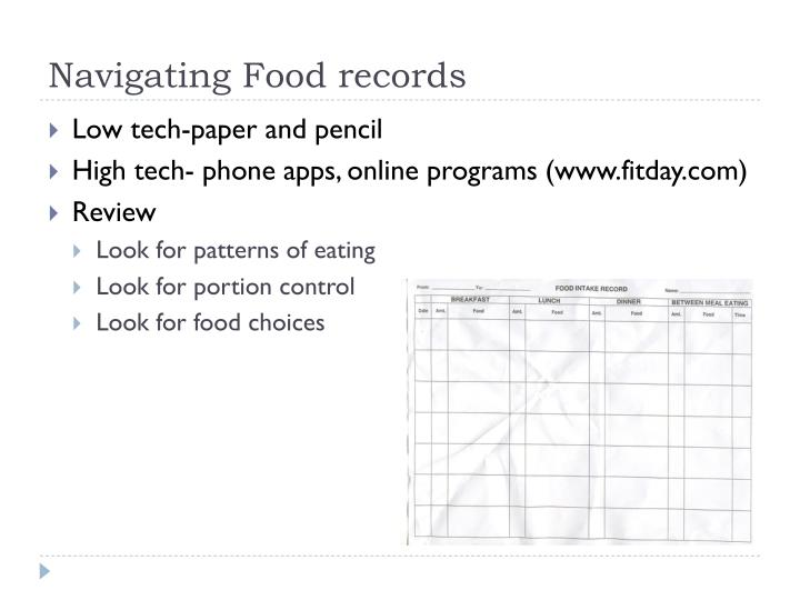 Navigating Food records