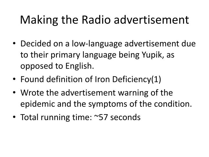 Making the Radio advertisement