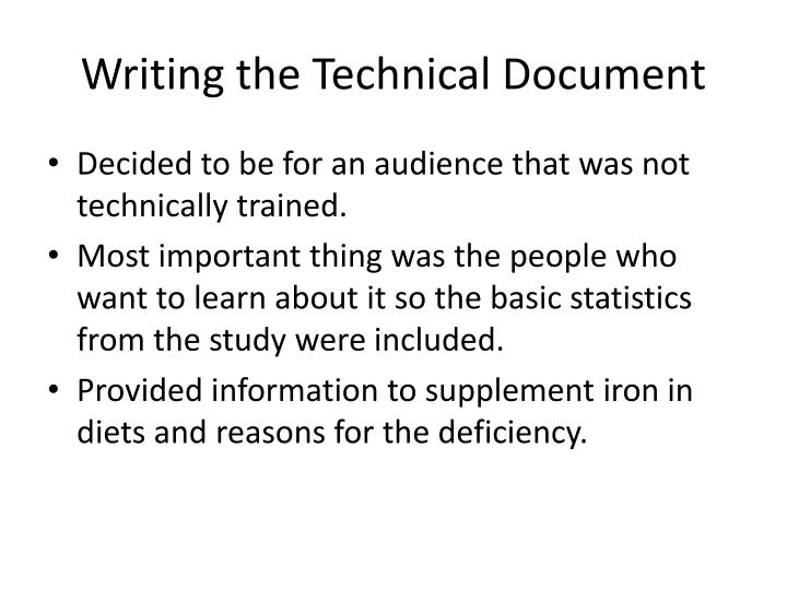 Writing the Technical Document