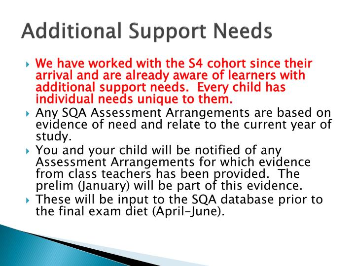 Additional Support Needs