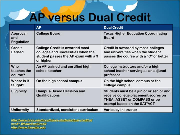 AP versus Dual Credit