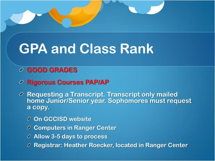 GPA and Class Rank