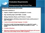 graduation requirements distinguished high school plan