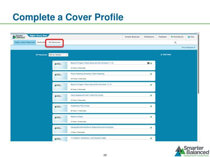 Complete a Cover Profile