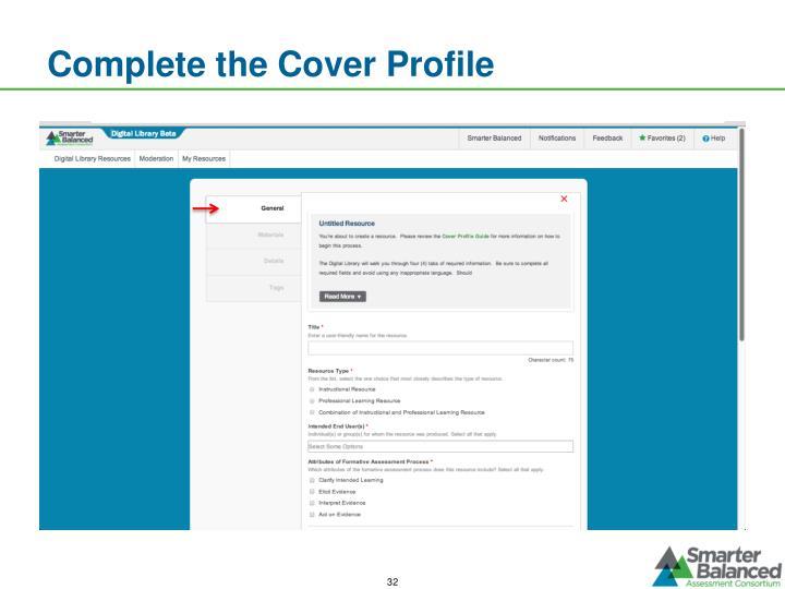 Complete the Cover Profile