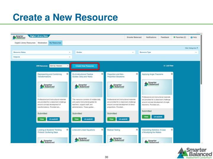 Create a New Resource