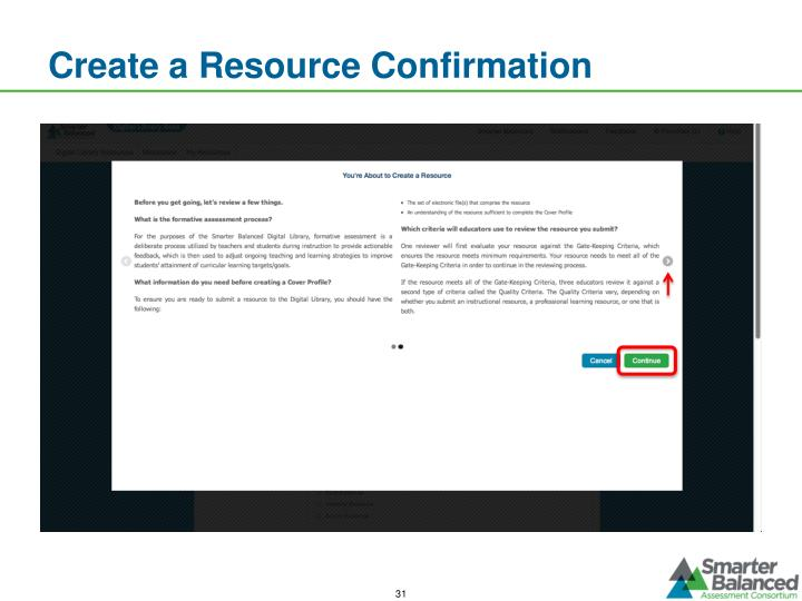 Create a Resource Confirmation