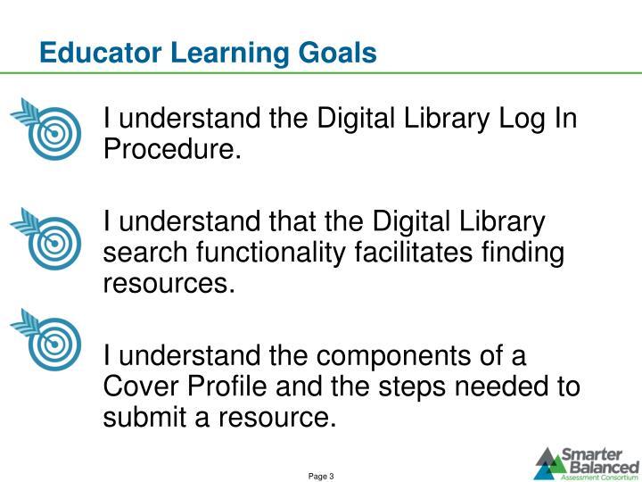 Educator Learning Goals