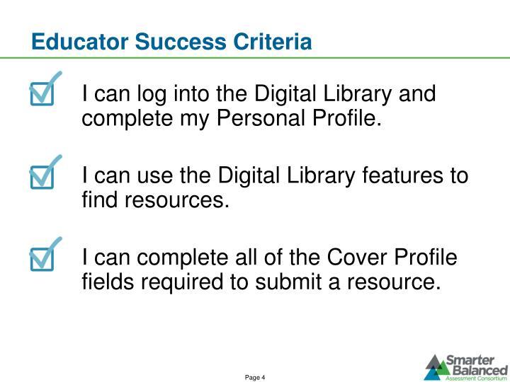 Educator Success Criteria