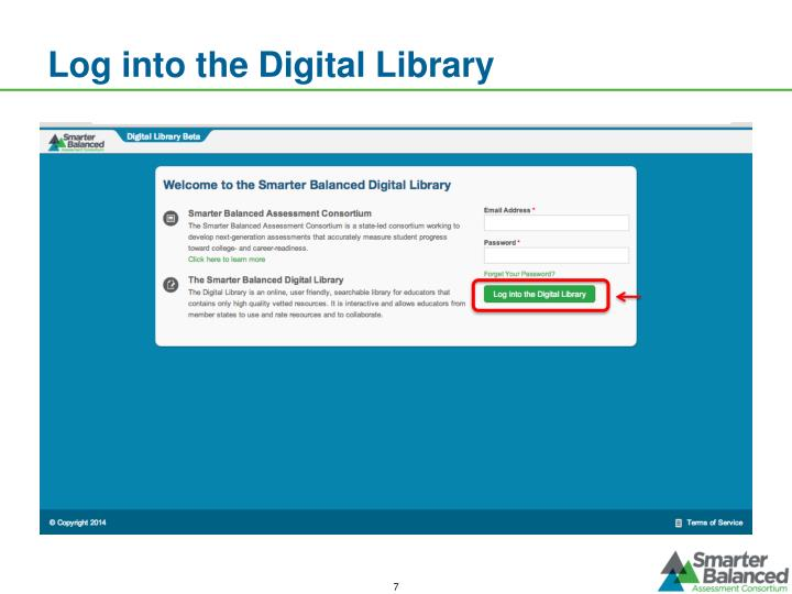 Log into the Digital Library