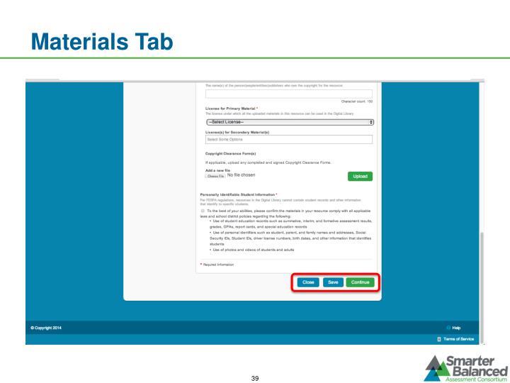 Materials Tab