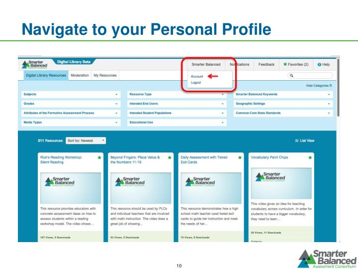 Navigate to your Personal Profile