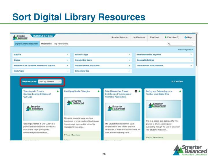 Sort Digital Library Resources