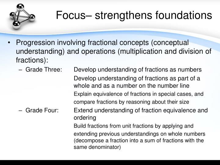 Focus– strengthens foundations