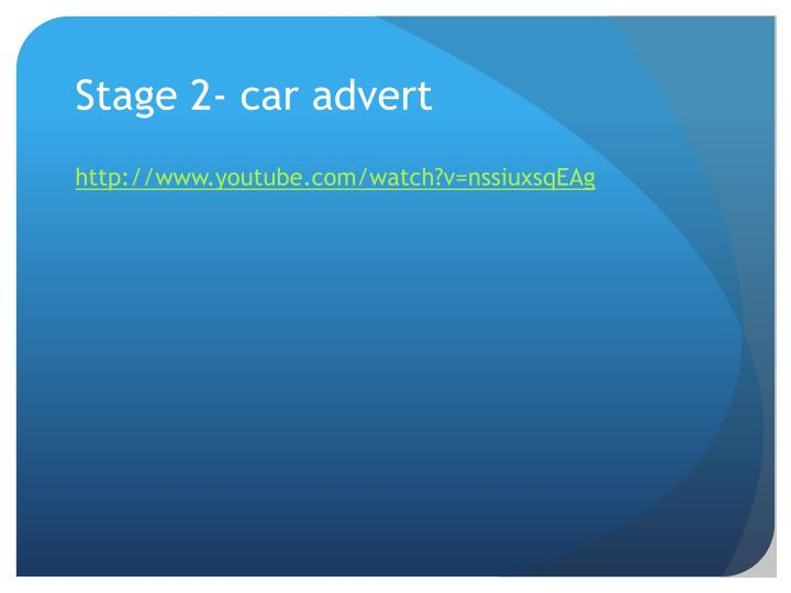 Stage 2- car advert