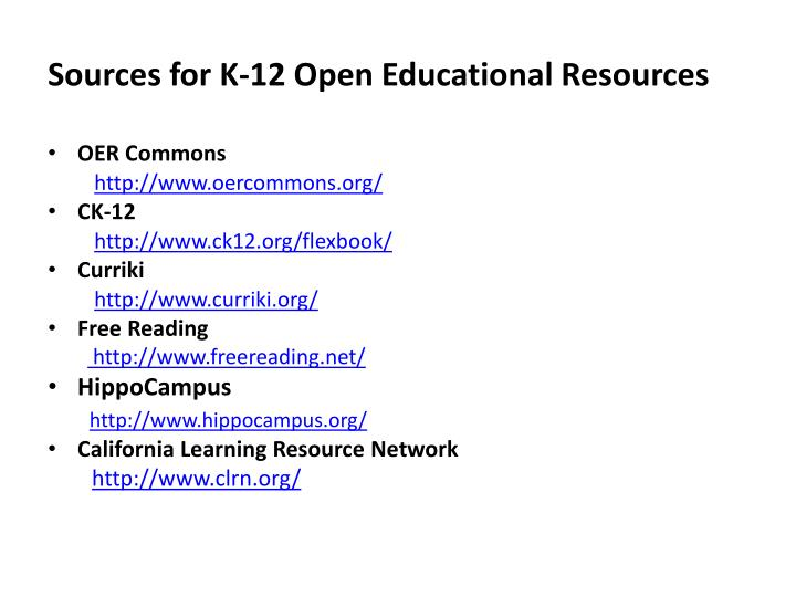 Sources for K-12 Open
