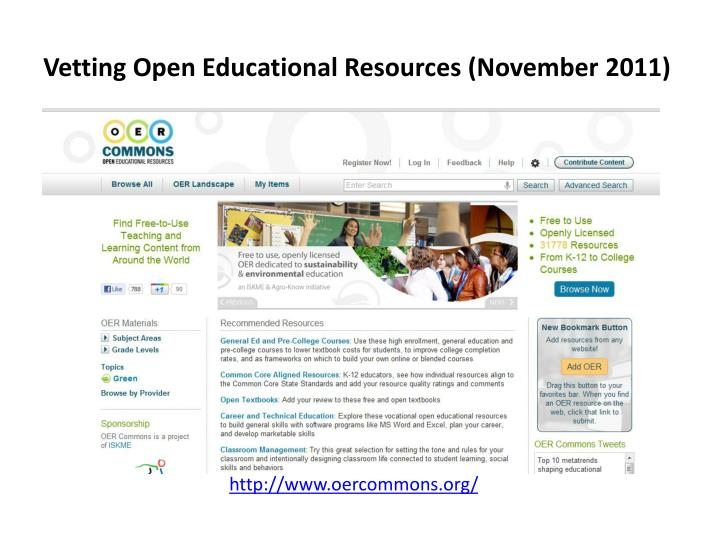 Vetting Open Educational Resources (November 2011)