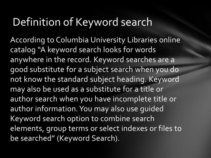 Definition of Keyword search