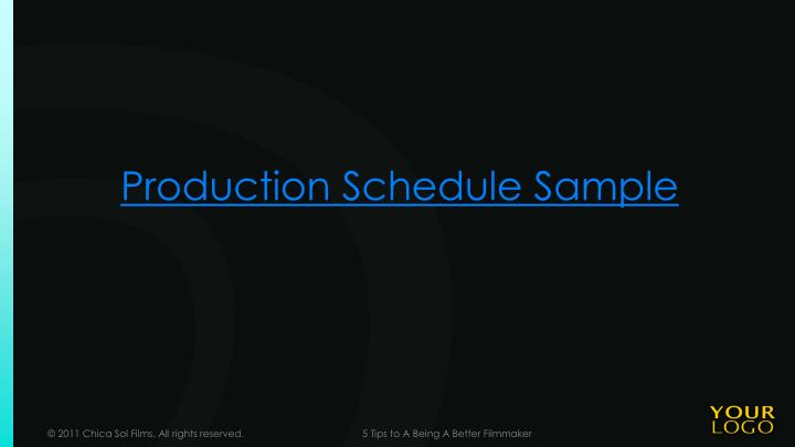 Production Schedule Sample