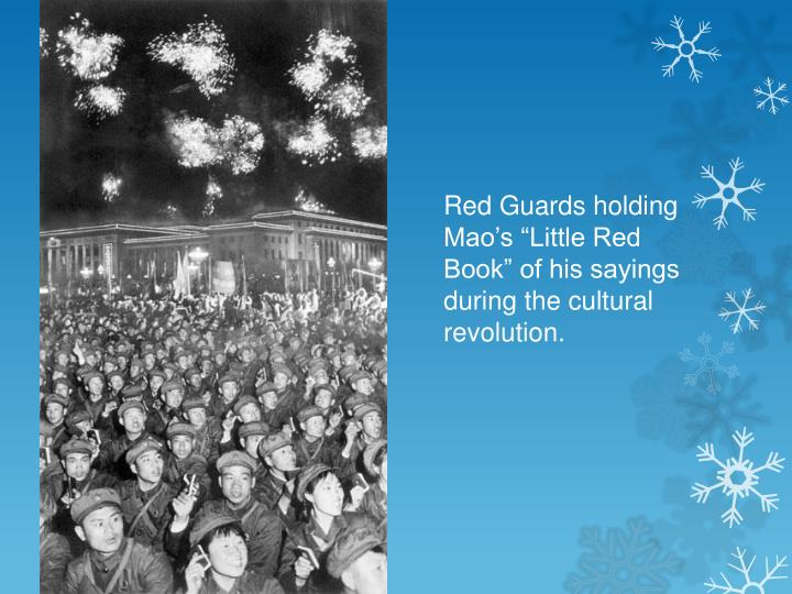 """Red Guards holding Mao's """"Little Red Book"""" of his sayings during the cultural revolution."""