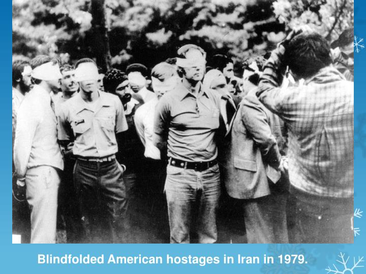 Blindfolded American hostages in Iran in 1979.