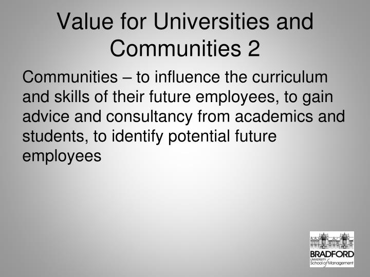 Value for Universities and Communities 2