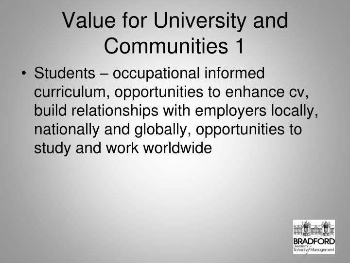 Value for University and Communities 1