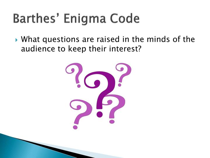 Barthes' Enigma Code