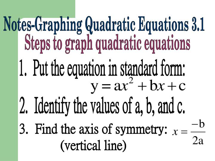 1.  Put the equation in standard form: