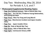 day two wednesday may 28 2014 for periods 4 5 6 and 71