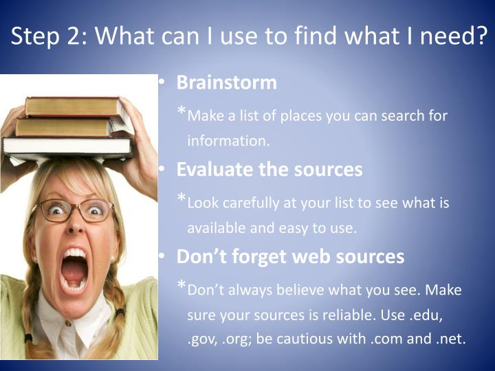 Step 2: What can I use to find what I need?