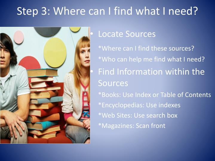 Step 3: Where can I find what I need?