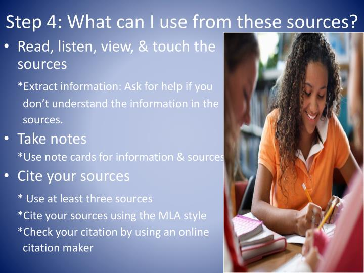 Step 4: What can I use from these sources?