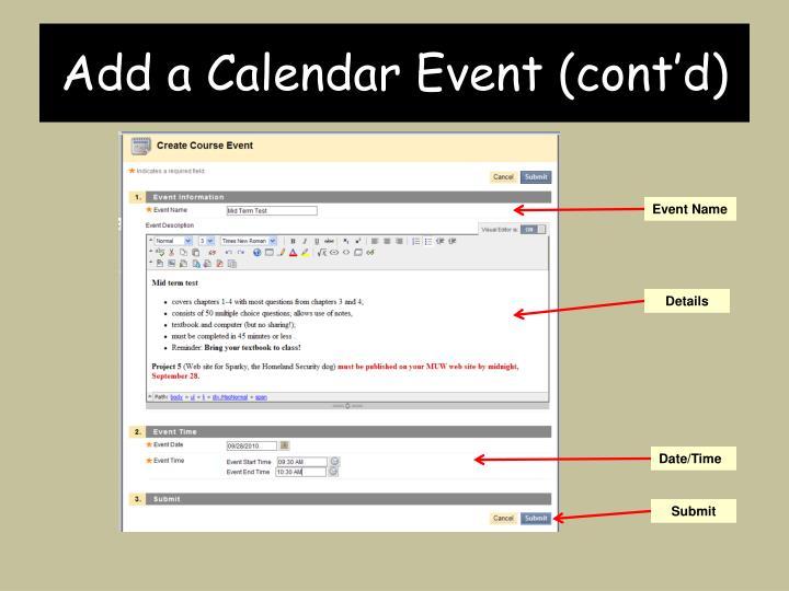 Add a Calendar Event (cont'd)