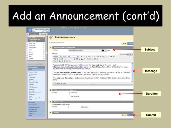 Add an Announcement (cont'd)