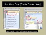 add menu item create content area
