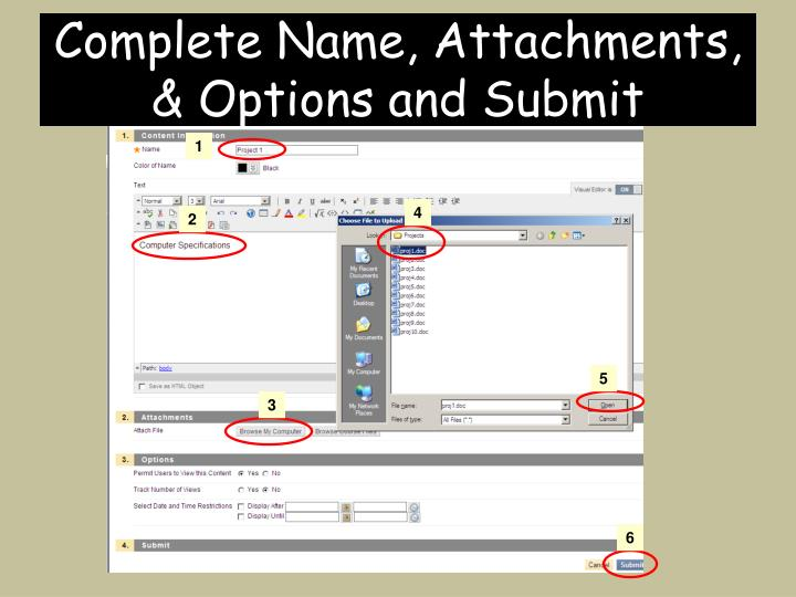 Complete Name, Attachments, & Options and Submit