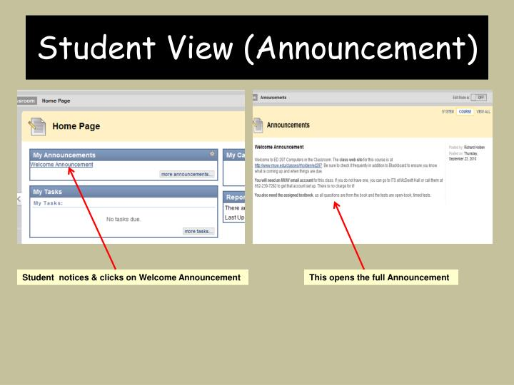 Student View (Announcement)