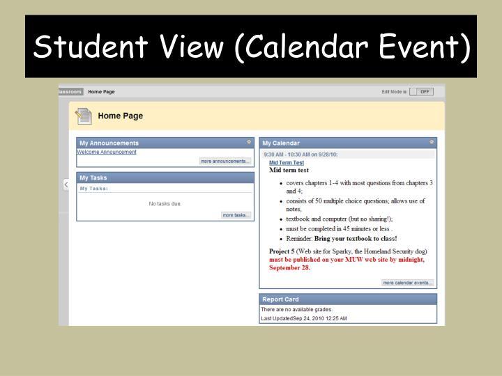 Student View (Calendar Event)