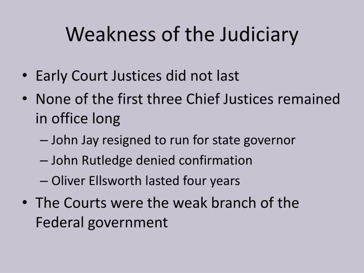 Weakness of the Judiciary